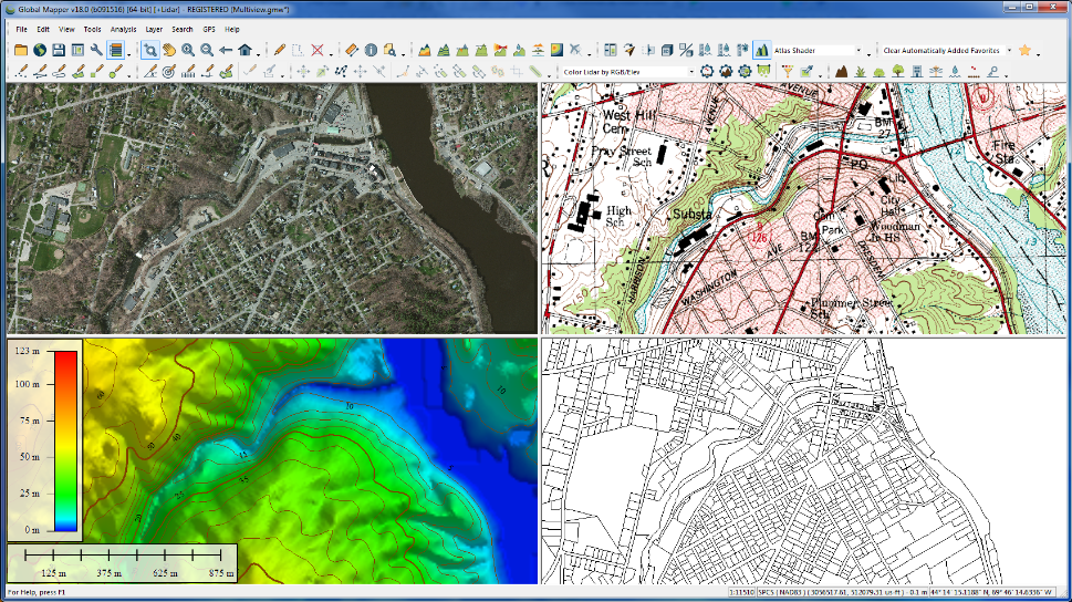 Multi View of Global Mapper 18