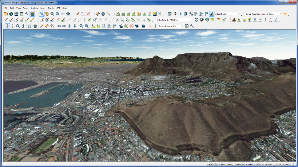 Cape Town 3D view in Global Mapper 18