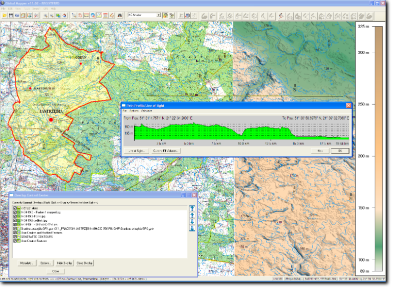 TOPO_SRTM_VECTORS_PathProfile_GlobalMapper screen