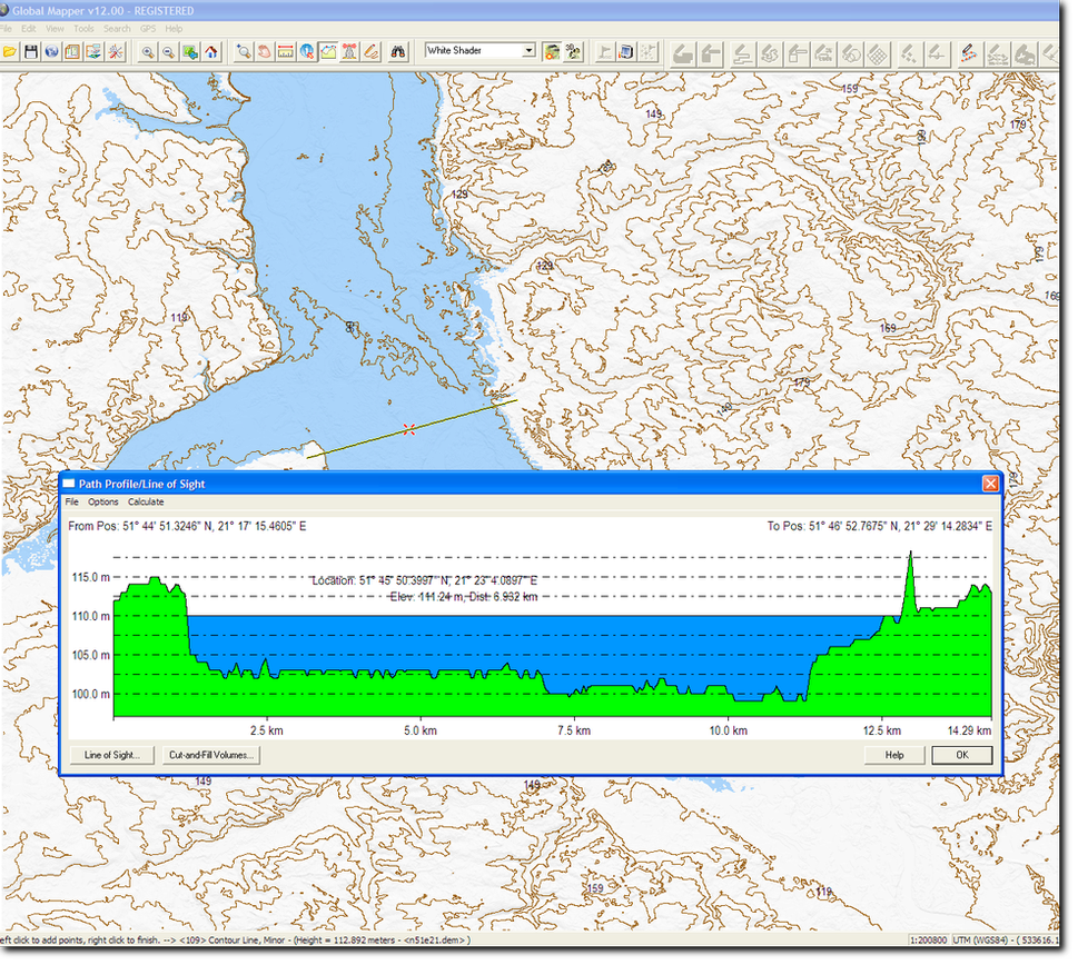 Water Level visible on the 3D Path Profile